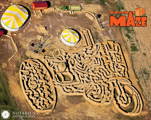 2014 Bozeman Straw Bale Maze - in the shape of a John Deere Model A Tractor
